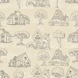 Seamless pattern with many houses and trees. Stock Photos