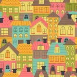 Seamless pattern with many houses. Vector illustration, eps Stock Photo