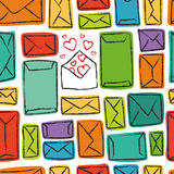 Seamless pattern - many letters and the one with love Stock Photography