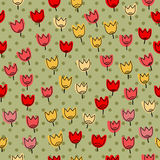 Seamless pattern with many of tulips on a backgrou Royalty Free Stock Photography