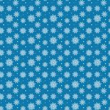 Seamless pattern of many white snowflakes on blue background. Ch Stock Photo