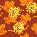 Seamless pattern of maple tree leave  and flower Stock Photo