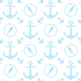 Seamless pattern with marine anchor and wind rose symbols Royalty Free Stock Photos