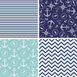 Seamless pattern with marine anchor and wind rose  Stock Photography