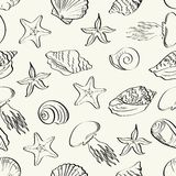 Seamless pattern, marine animals contours Royalty Free Stock Photo