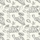 Seamless pattern, marine animals contours Royalty Free Stock Image