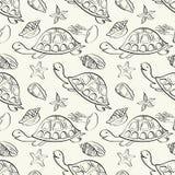Seamless pattern, marine animals contours Royalty Free Stock Image
