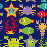 Seamless pattern with marine animals on a dark blue background. Royalty Free Stock Photo