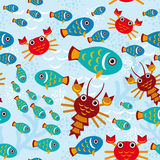 Seamless pattern with marine animals.  Royalty Free Stock Photos