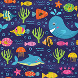 Seamless pattern with marine animals Royalty Free Stock Photography