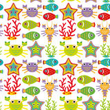 Seamless pattern with marine animals on a white background.