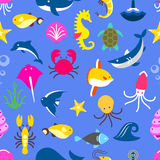 Seamless pattern with marine beasts, fish pattern Royalty Free Stock Image