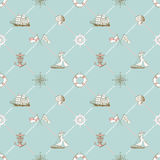 Seamless pattern of marine check Royalty Free Stock Photo