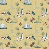 Seamless pattern of marine items. Marine items pattern on cardboard Stock Images