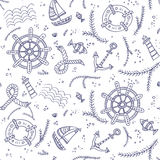 Seamless pattern with marine items Royalty Free Stock Photography