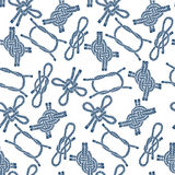 Seamless pattern with  marine knots on a white background. Monochrome knots. Endless  background Royalty Free Stock Image