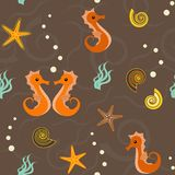 Seamless pattern with marine life Stock Image