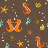 Seamless pattern with marine life Stock Image