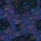 Seamless pattern Marine life Stock Images