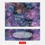 Seamless pattern Marine life. On the background of colorful bubbles, with  fish, turtle,shell,seaweed,jelly fish,coral,sea urchins,fish Hammer,lobster,bubbles Stock Photo
