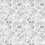 Seamless pattern with marine life: jellyfish, fishes, corals, seaweed, bubbles and stars. Hand draw art Stock Image