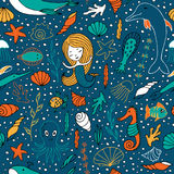 Seamless pattern marine life. Sea creatures are hand-drawn in Doodle style. Fish, seaweed, shells and mermaids Stock Photo