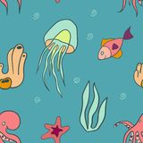 Seamless pattern with marine life. Fish, jellyfish, octopus, starfish, seaweed and bubbles Stock Image