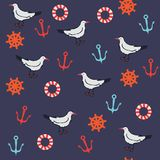 Seamless pattern with marine objects. Stock Image