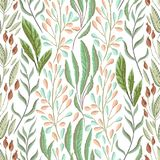Seamless pattern with marine plants, leaves and seaweed. Hand drawn marine flora in watercolor style. Vector illustration Royalty Free Stock Photo