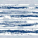 Seamless pattern with marine rope,  knots and abstract waves. Royalty Free Stock Photos