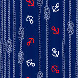 Seamless pattern with marine rope, knots and anchors on blue bac. Sea background with marine knots, ropes and anchors. Vector illustration Stock Photo