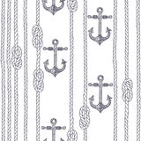 Seamless pattern with marine rope, knots and anchors on a white Royalty Free Stock Photography