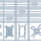 Seamless pattern with marine rope and knots on a white  backgrou Stock Image
