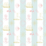 Seamless pattern of marine stripes. Stripes  with hand drawn marine items Stock Photos
