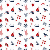 Seamless pattern in a marine style. accessories for a beach holiday. Royalty Free Stock Image