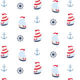 Seamless pattern in marine style. May be used as packing Stock Photography