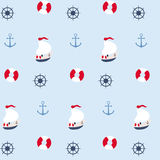 Seamless pattern in marine style Royalty Free Stock Photo
