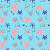 Seamless pattern in marine style with starfishes, anchor and shells Royalty Free Stock Photo