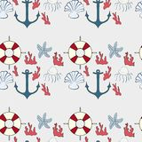 Seamless pattern of marine symbols Stock Photography