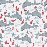 Seamless pattern of marine symbols. Seamless pattern with marine symbols on a light background Stock Illustration