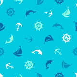 Seamless pattern on the marine theme. Anchor, dolphin, steering. Anchor, dolphin, steering wheel, ship - seamless pattern on the marine theme Royalty Free Stock Images