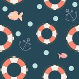 The seamless pattern on the marine theme. Anchor, lifeline, and fish on blue background. royalty free illustration