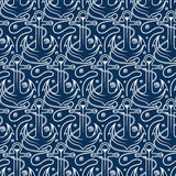Seamless pattern for marine theme.  anchor,rope and shell. V Stock Photo