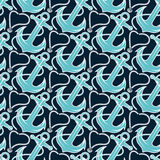 Seamless pattern for marine theme.  anchor,rope and shell. V Royalty Free Stock Photos