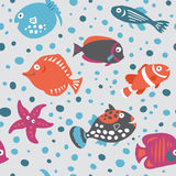 Seamless pattern on marine theme in the children`s style Stock Image