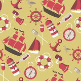 Seamless Pattern on the marine theme Royalty Free Stock Image