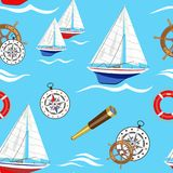 Seamless pattern on marine theme and sailboats. Vector illustration. Royalty Free Stock Images