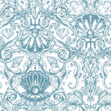 Seamless pattern with marine vintage elements. Royalty Free Stock Image