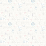 Seamless pattern with maritime elements Royalty Free Stock Image
