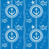 Seamless pattern with a maritime theme Royalty Free Stock Photos